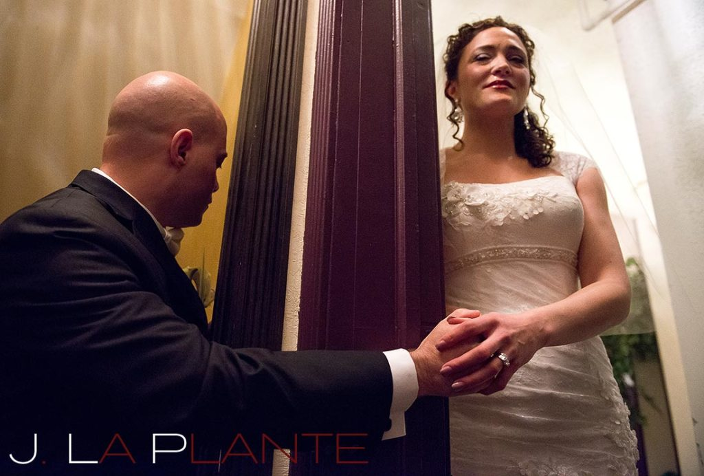 J. La Plante Photo | Brook Forest Inn Wedding | Evergreen, CO wedding photography | Bride and groom praying before wedding