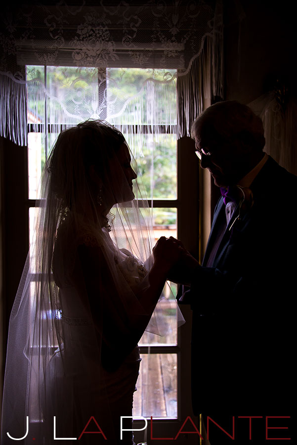 J. La Plante Photo | Brook Forest Inn Wedding | Evergreen, CO wedding photography | Bride praying with father before wedding