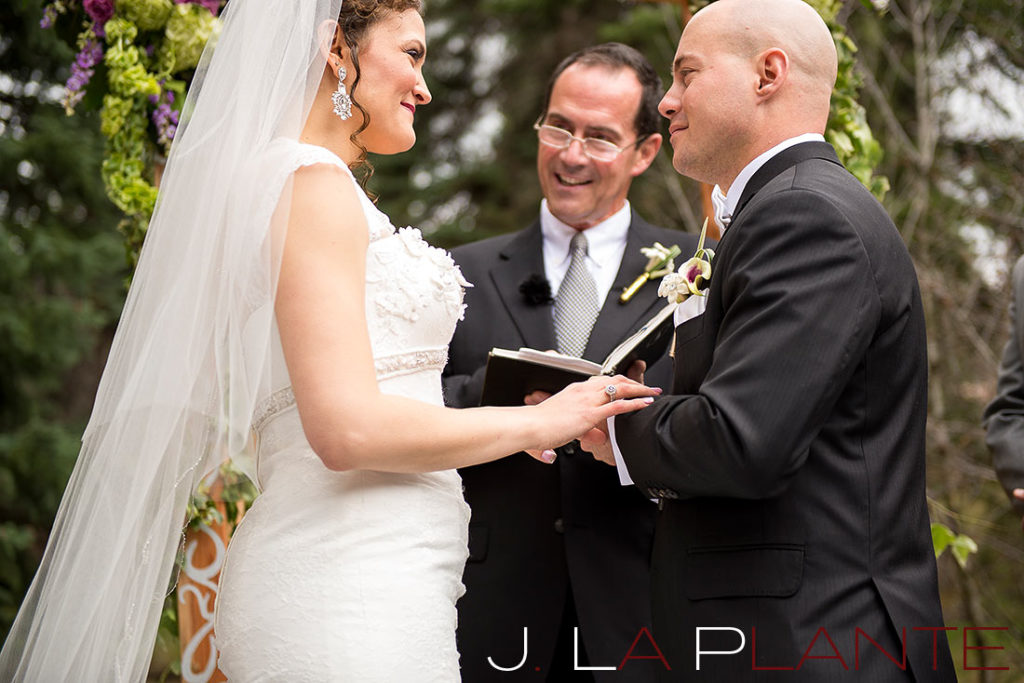 J. La Plante Photo | Brook Forest Inn Wedding | Evergreen, CO wedding photography | Bride and groom saying vows