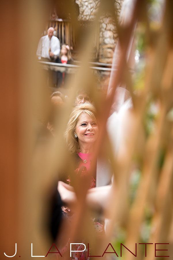 J. La Plante Photo | Brook Forest Inn Wedding | Evergreen, CO wedding photography | Mother of the groom watching ceremony