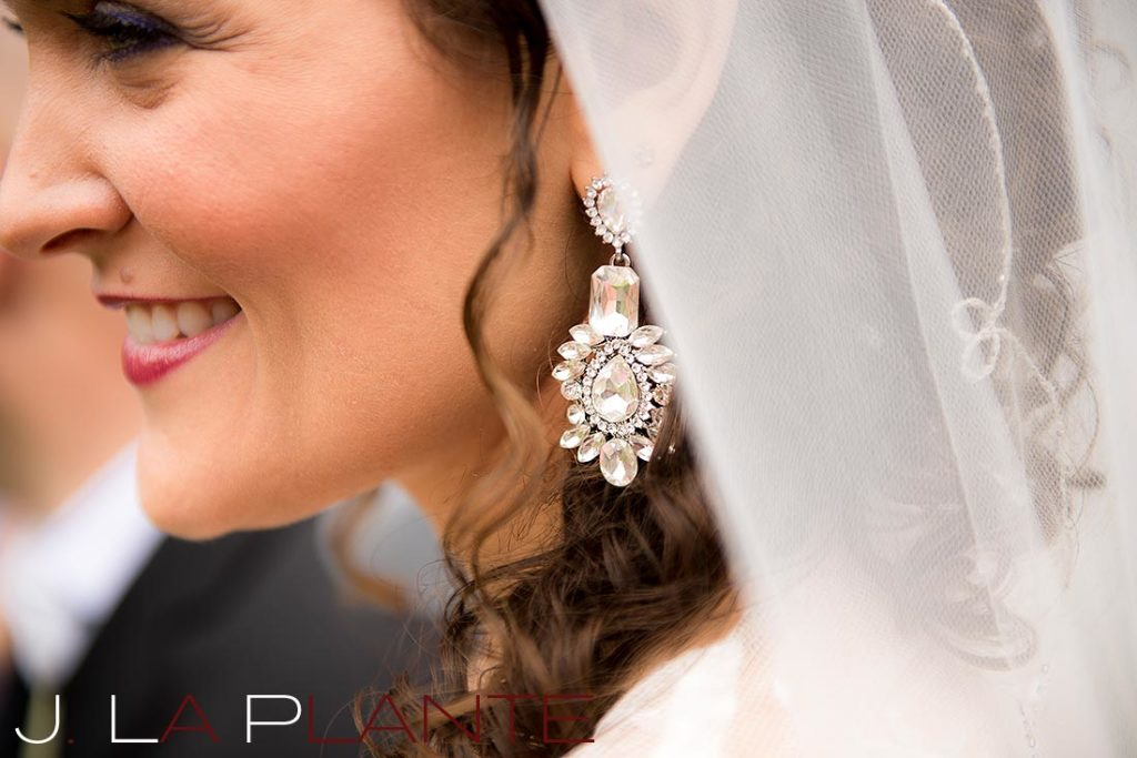 J. La Plante Photo | Brook Forest Inn Wedding | Evergreen, CO wedding photography | Bride's earrings