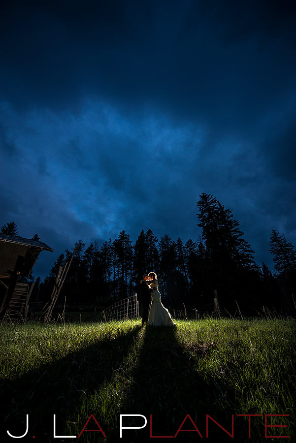 J. La Plante Photo | Brook Forest Inn Wedding | Evergreen, CO wedding photography | Bride and groom at night in field