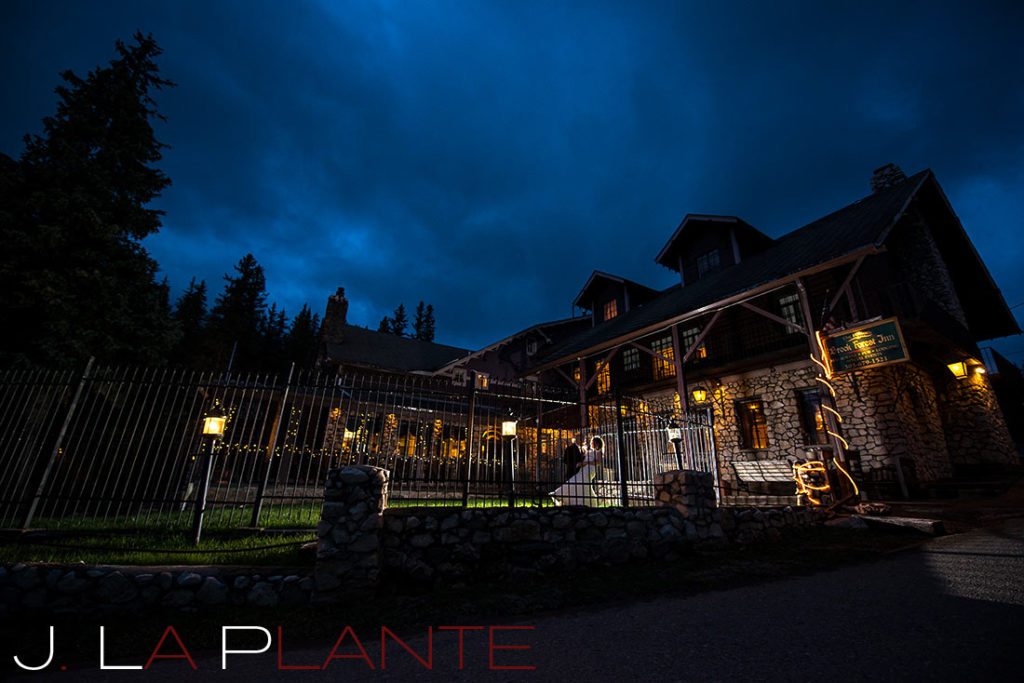 J. La Plante Photo | Brook Forest Inn Wedding | Evergreen, CO wedding photography | Bride and groom at night