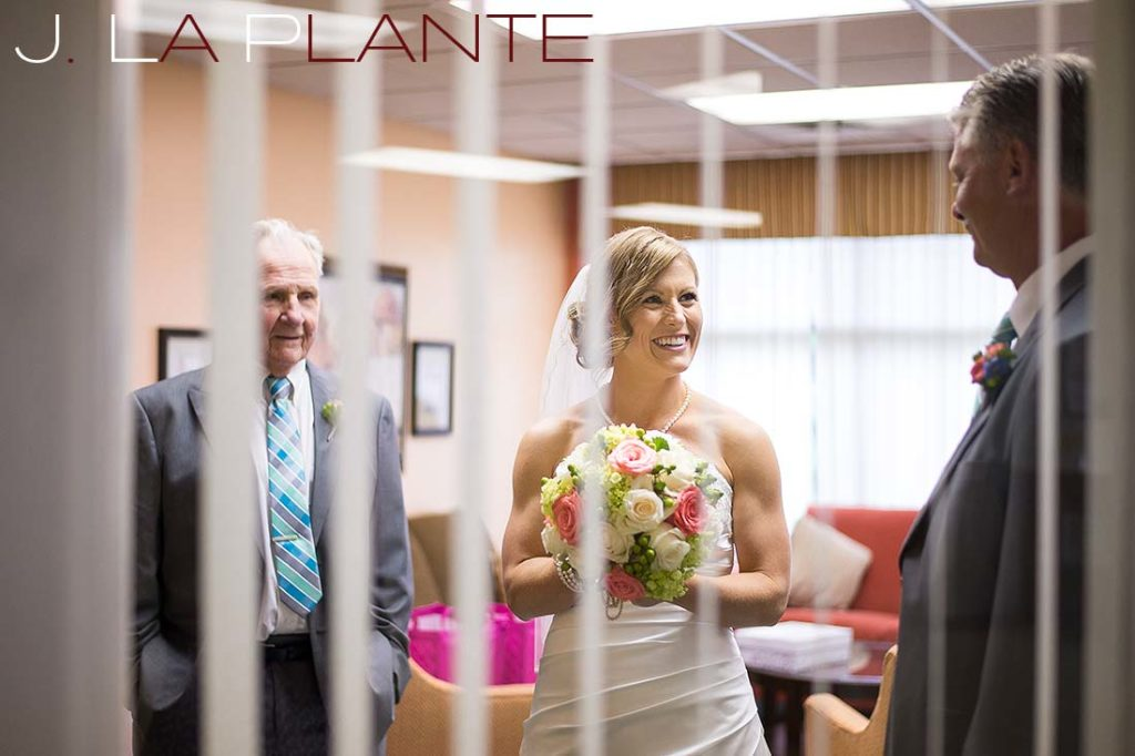 J. La Plante Photo | Kalamazoo Country Club Wedding | Destination Wedding Photography | Bride waiting with father and grandfather