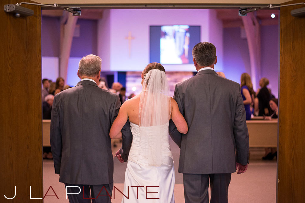 J. La Plante Photo | Kalamazoo Country Club Wedding | Destination Wedding Photography | Bride walked down the aisle by father and grandfather