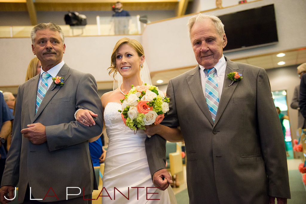 J. La Plante Photo | Kalamazoo Country Club Wedding | Destination Wedding Photography | Bride escorted down the aisle by father and grandfather