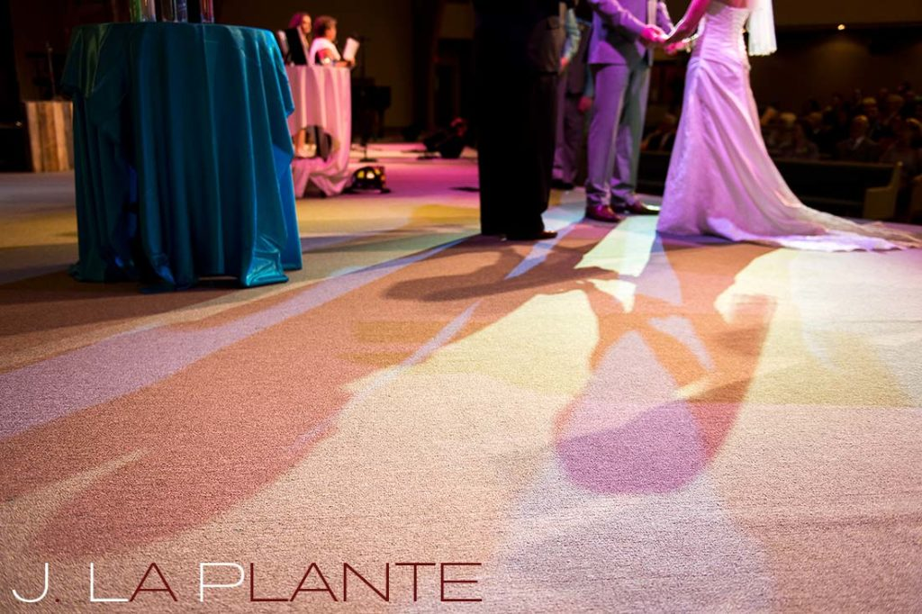 J. La Plante Photo | Kalamazoo Country Club Wedding | Destination Wedding Photography | Bride and groom shadows at altar