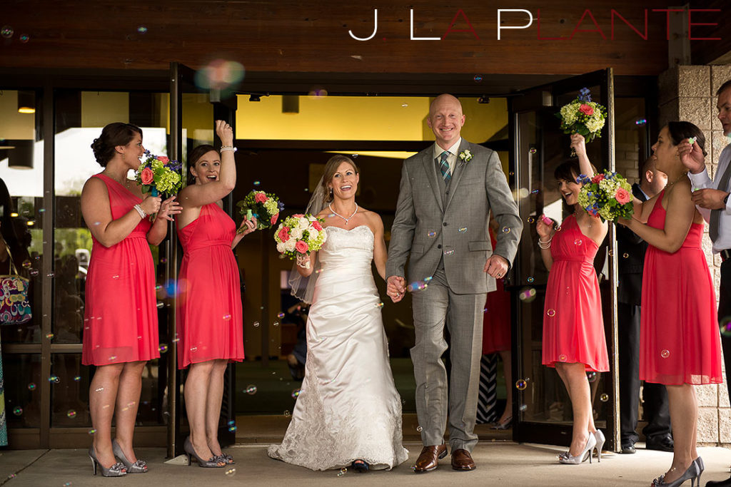 J. La Plante Photo | Kalamazoo Country Club Wedding | Destination Wedding Photography | Bride and groom in bubble sendoff