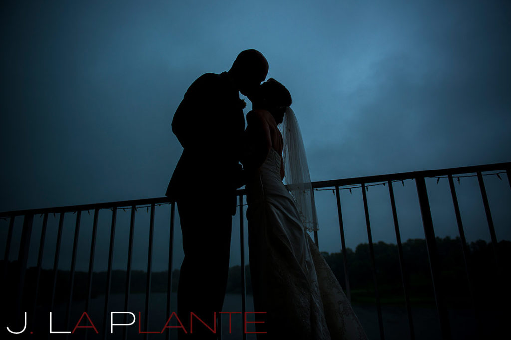 J. La Plante Photo | Kalamazoo Country Club Wedding | Destination Wedding Photography | Bride and groom silhouette