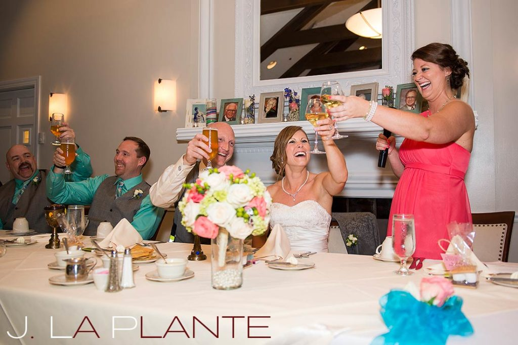 J. La Plante Photo | Kalamazoo Country Club Wedding | Destination Wedding Photography | Maid of honor toasting