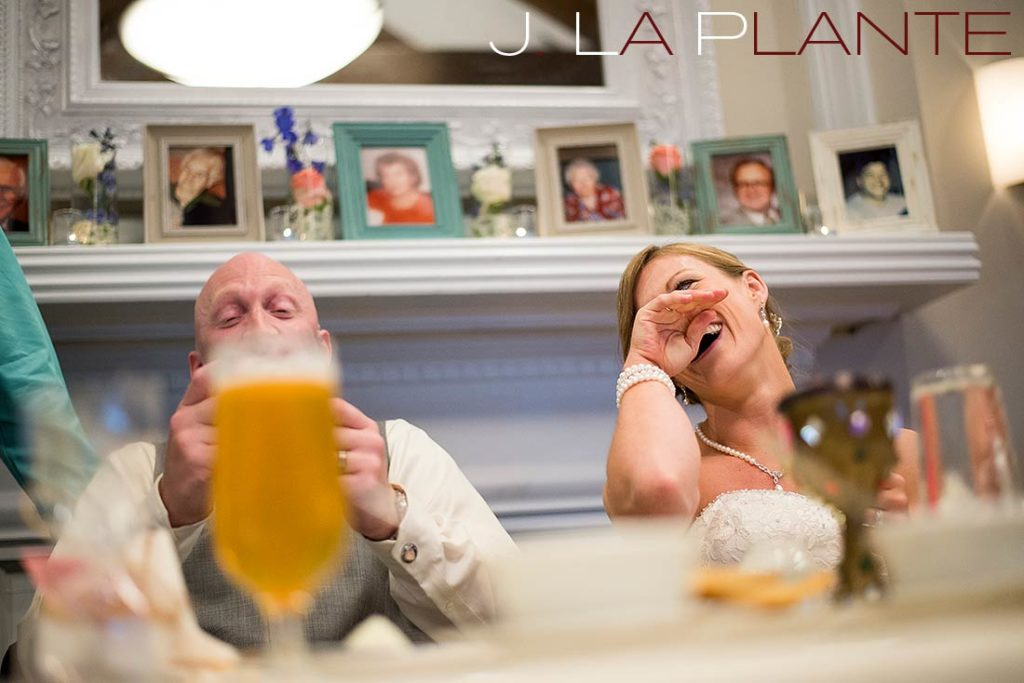 J. La Plante Photo | Kalamazoo Country Club Wedding | Destination Wedding Photography | Bride and groom laughing during toasts