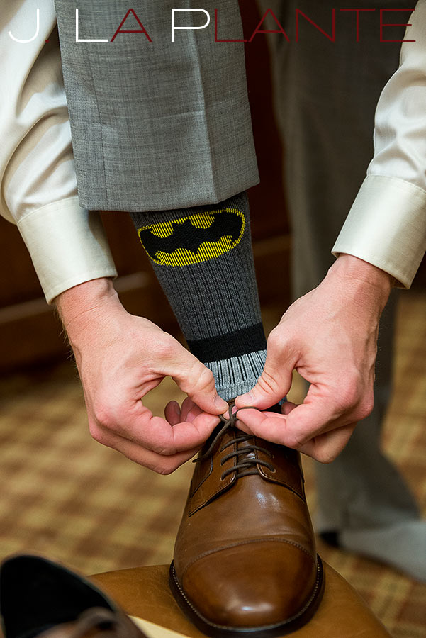 J. La Plante Photo | Kalamazoo Country Club Wedding | Destination Wedding Photography | Groom's Batman socks