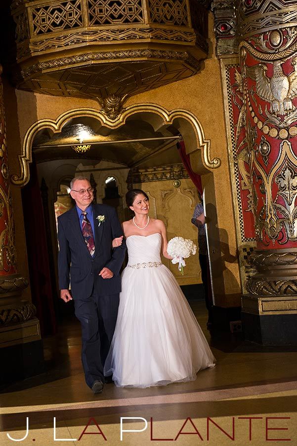 J. La Plante Photo | Fox Theatre Detroit Elopement | Destination Wedding Photography | Bride walking down aisle with father