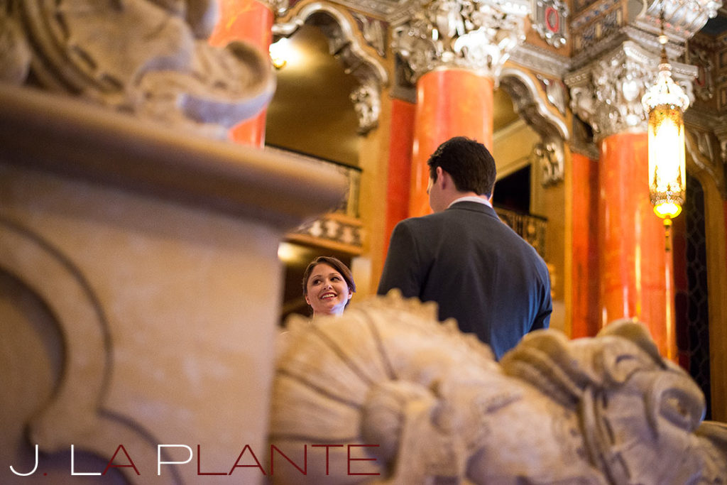 J. La Plante Photo | Fox Theatre Detroit Elopement | Destination Wedding Photography | Bride and groom saying vows