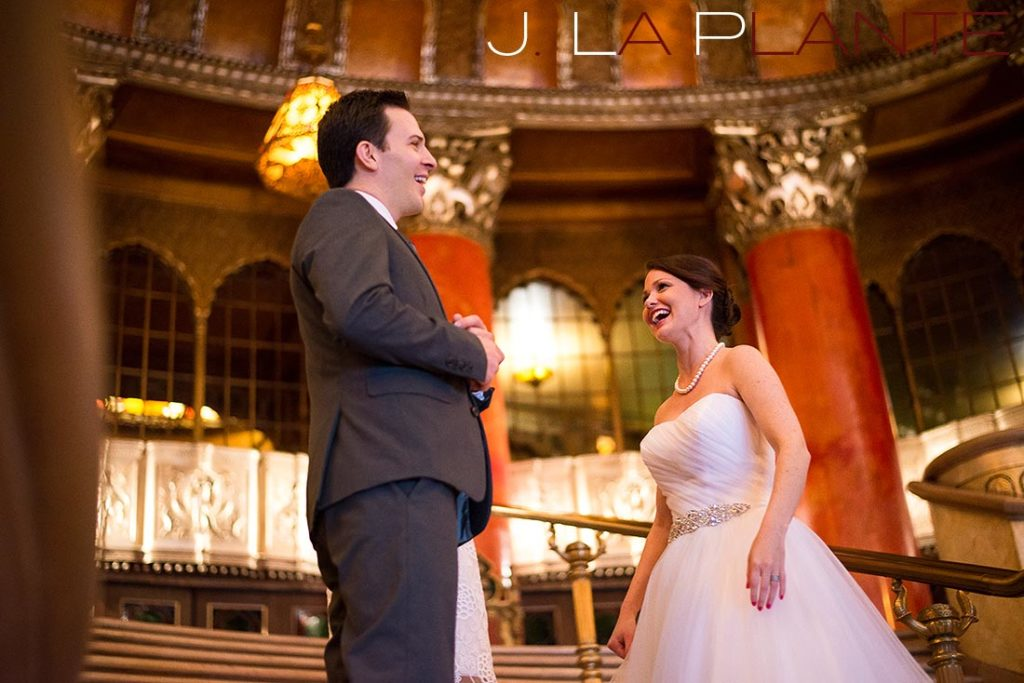 J. La Plante Photo | Fox Theatre Detroit Elopement | Destination Wedding Photography | Bride and groom laughing