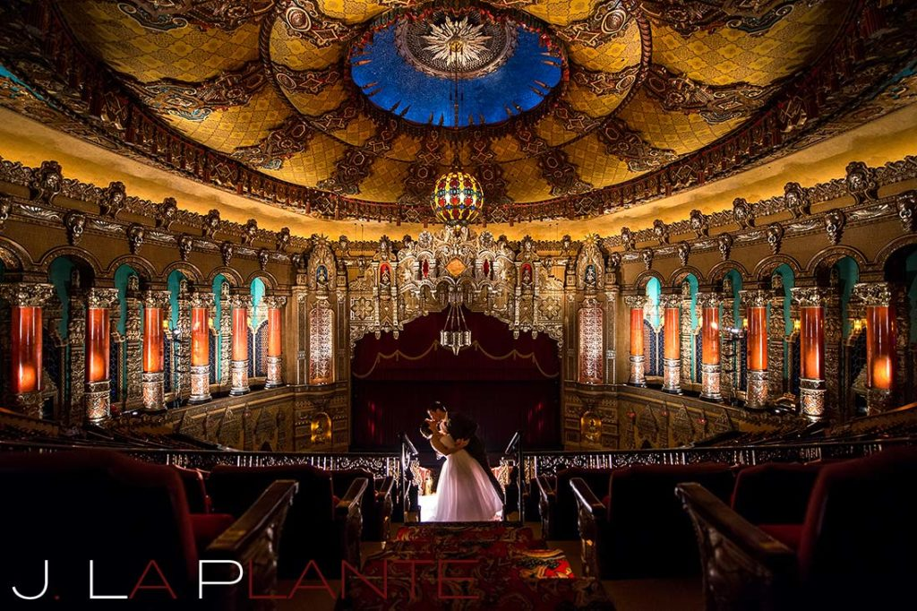 J. La Plante Photo | Fox Theatre Detroit Elopement | Destination Wedding Photography | Bride and groom dipping