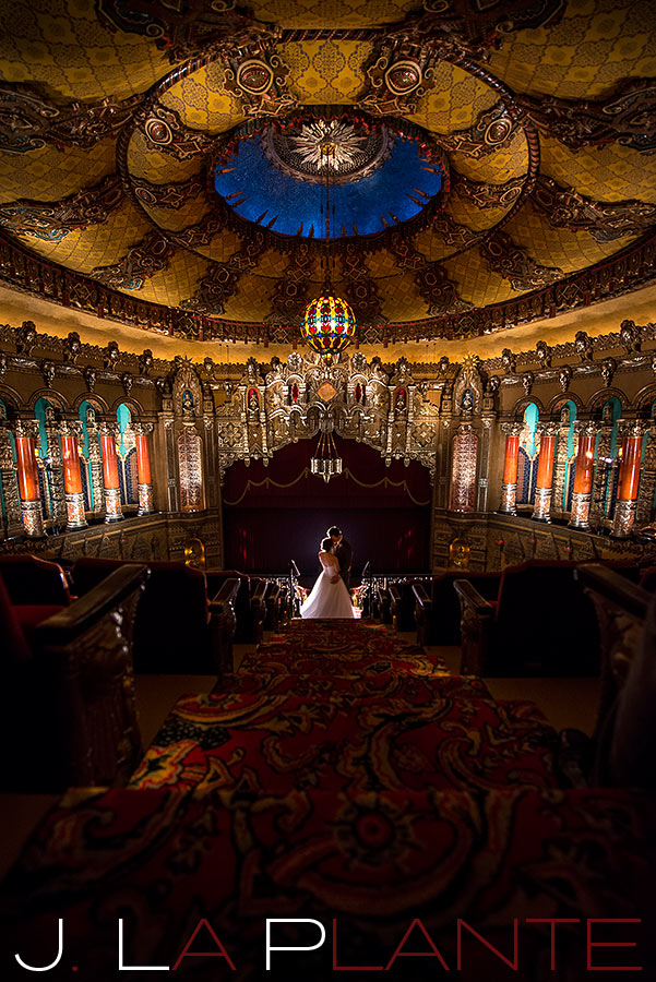 J. La Plante Photo | Fox Theatre Detroit Elopement | Destination Wedding Photography | Bride and groom in auditorium