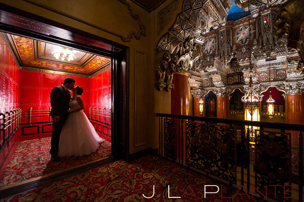 J. La Plante Photo | Fox Theatre Detroit Elopement | Destination Wedding Photography | Bride and groom in elevator