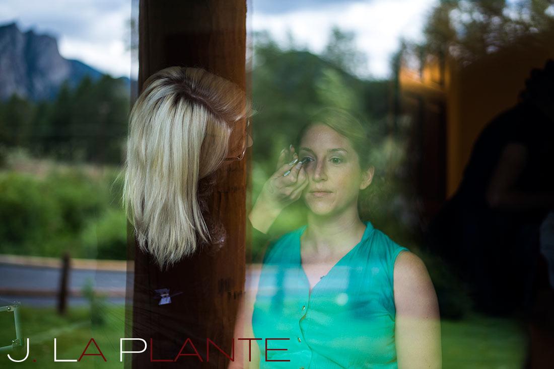 J. La Plante Photo | Colorado Rocky Mountain wedding photography | Estes Park wedding | Bride in window reflection