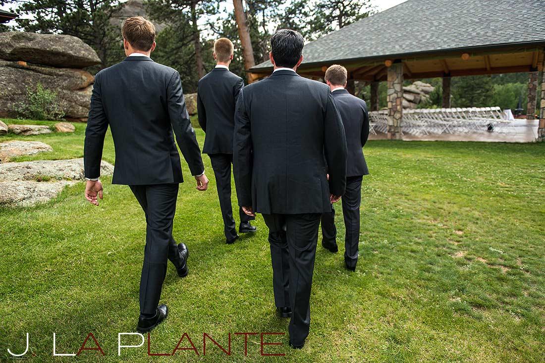 J. La Plante Photo | Colorado Rocky Mountain wedding photography | Estes Park wedding | Groom walking to ceremony