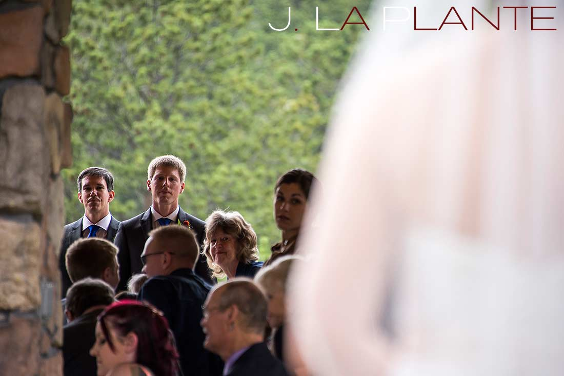 J. La Plante Photo | Colorado Rocky Mountain wedding photography | Estes Park wedding | Groom seeing bride for first time