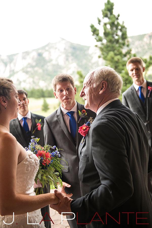 J. La Plante Photo | Colorado Rocky Mountain wedding photography | Estes Park wedding | Father giving bride away