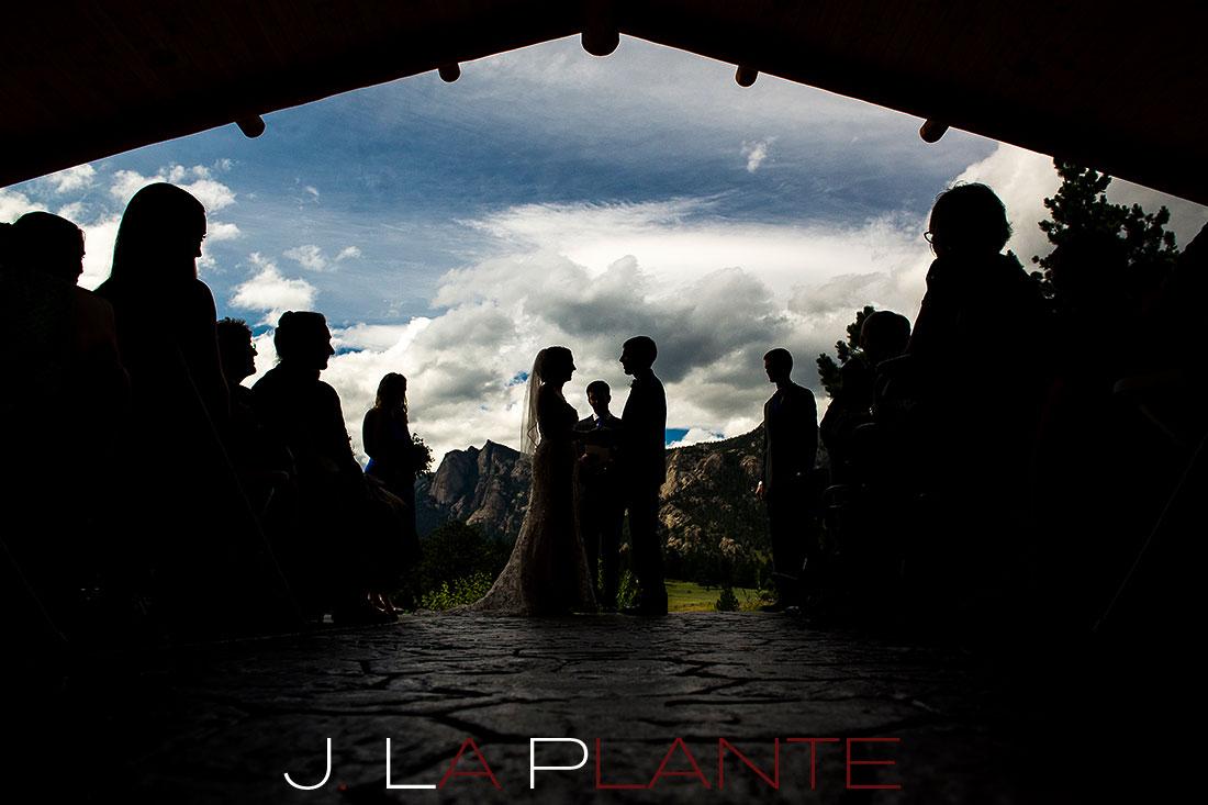 J. La Plante Photo | Colorado Rocky Mountain wedding photography | Estes Park wedding | Bride and groom saying vows