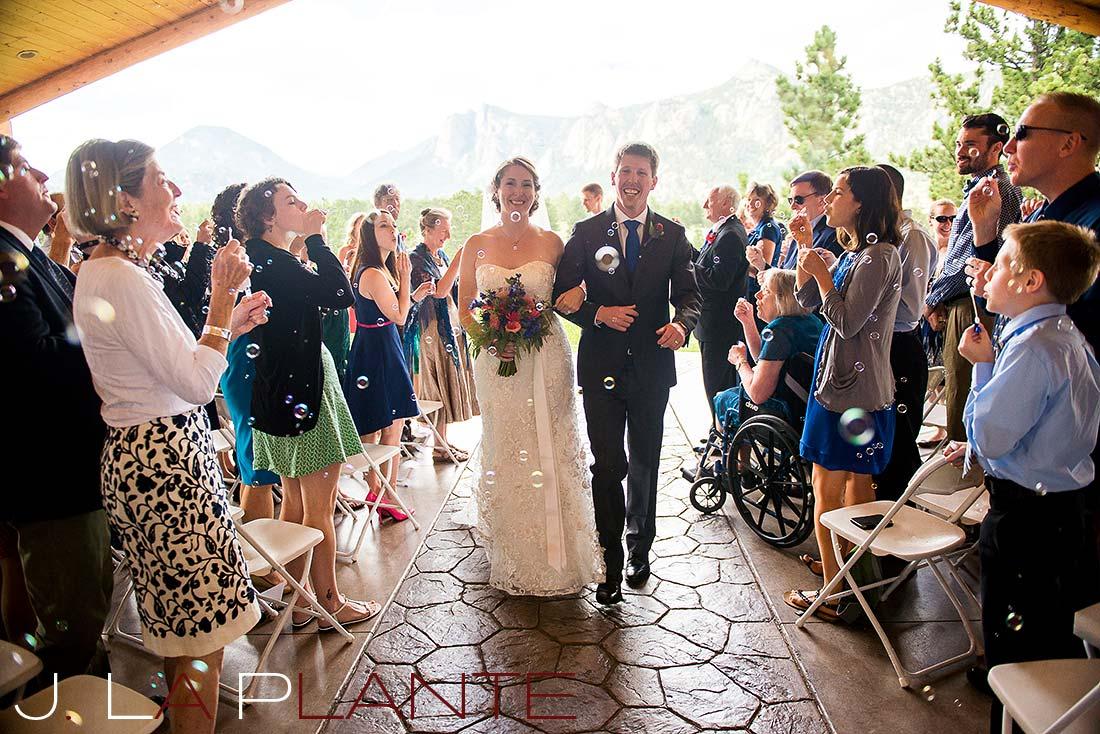 J. La Plante Photo | Colorado Rocky Mountain wedding photography | Estes Park wedding | Bride and groom after ceremony