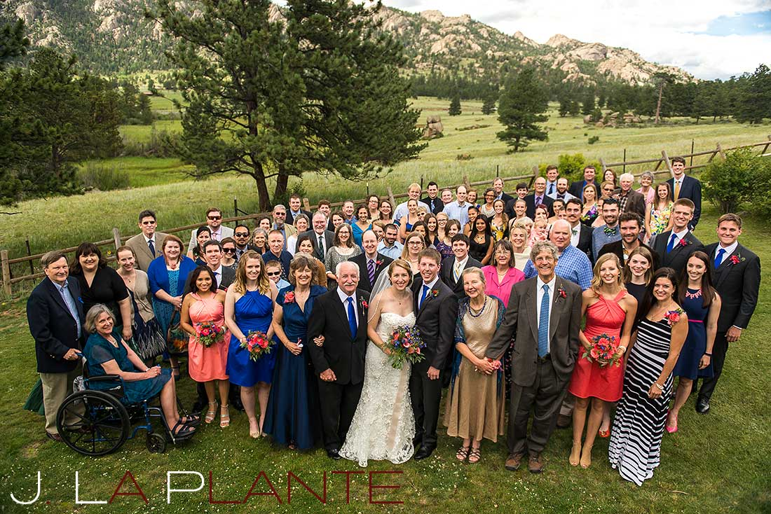 J. La Plante Photo | Colorado Rocky Mountain wedding photography | Estes Park wedding | Group photo with all the guests