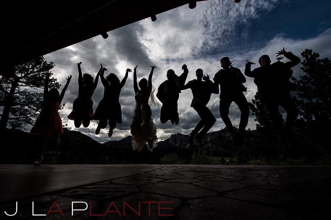 J. La Plante Photo | Colorado Rocky Mountain wedding photography | Estes Park wedding | Wedding party jumping