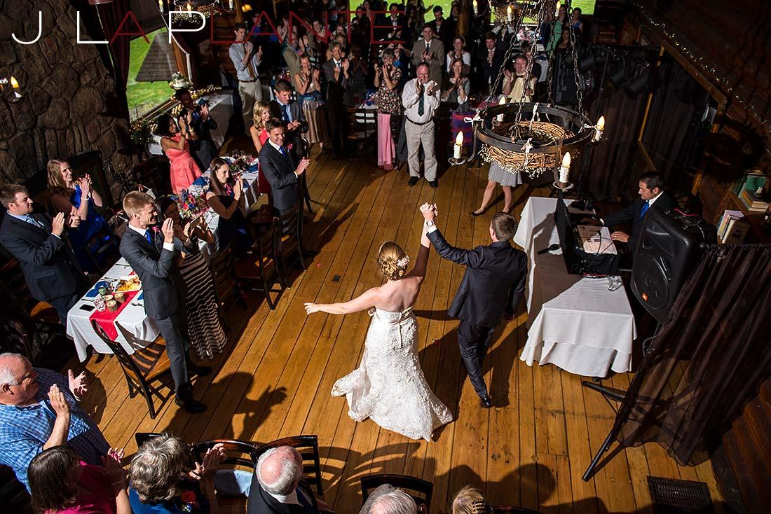 J. La Plante Photo | Colorado Rocky Mountain wedding photography | Estes Park wedding | Bride and groom being announced