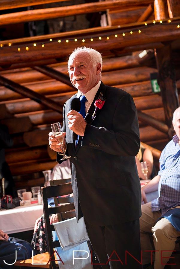 J. La Plante Photo | Colorado Rocky Mountain wedding photography | Estes Park wedding | Father of the bride giving toast