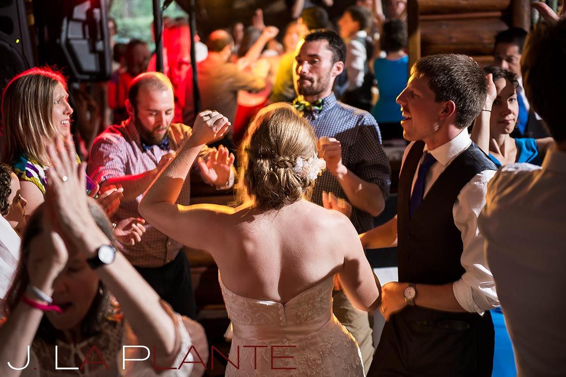 J. La Plante Photo | Colorado Rocky Mountain wedding photography | Estes Park wedding | Guests dancing
