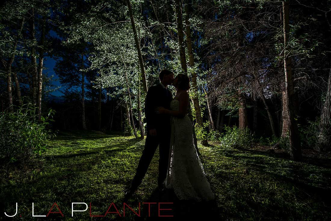 J. La Plante Photo | Colorado Rocky Mountain wedding photography | Estes Park wedding | Bride and groom in grove at night