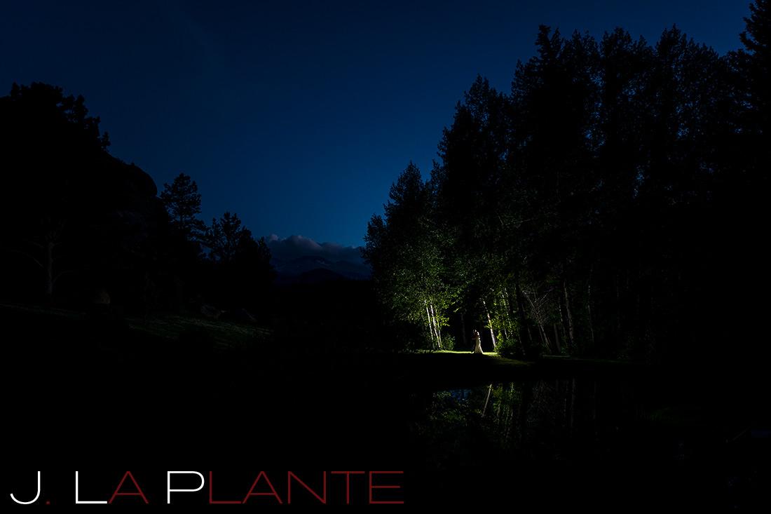 J. La Plante Photo | Colorado Rocky Mountain Wedding Photography | Estes Park Wedding | Bride and groom in aspen grove at night