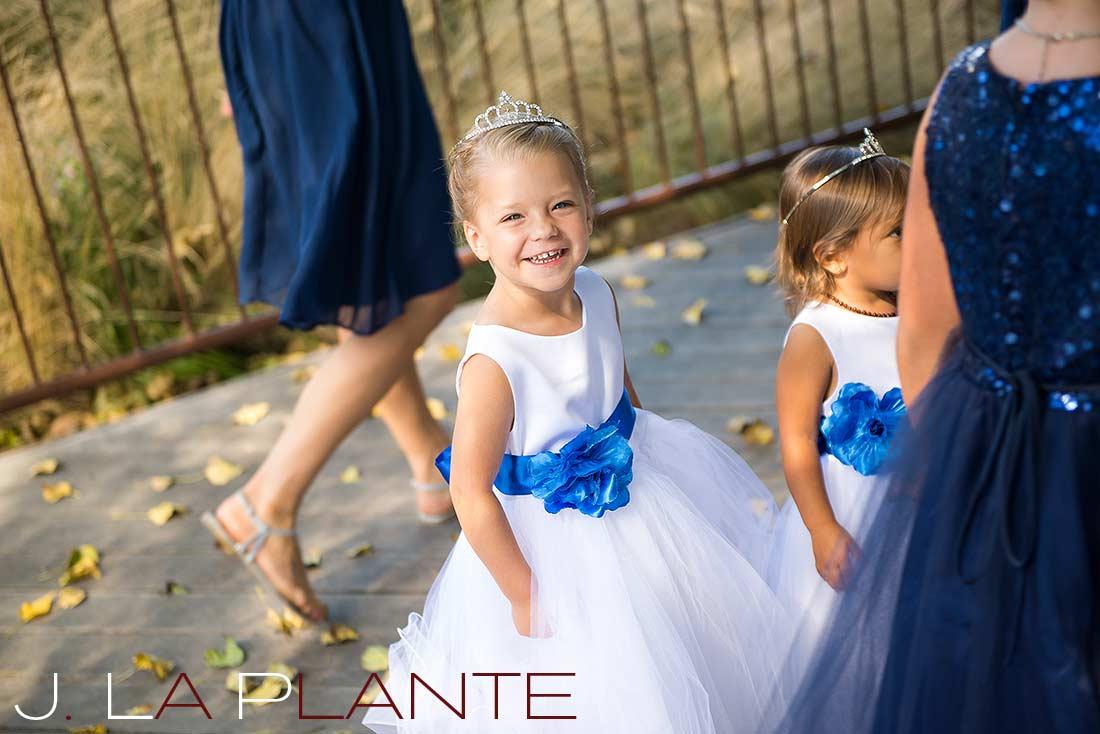 J. La Plante Photo   Denver Wedding Photography   Chatfield Botanic Gardens wedding   Flower girls with tiaras