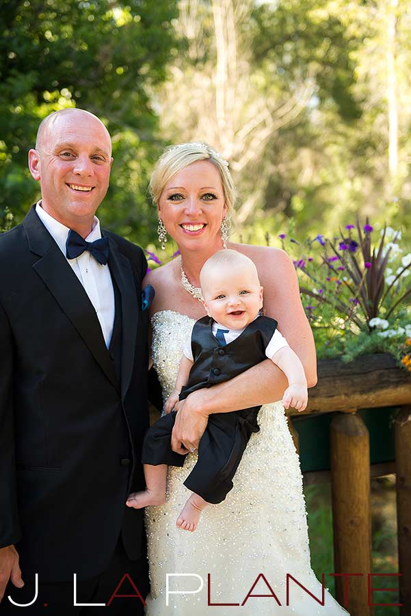 J. La Plante Photo   Denver Wedding Photography   Chatfield Botanic Gardens wedding   Bride and groom with baby