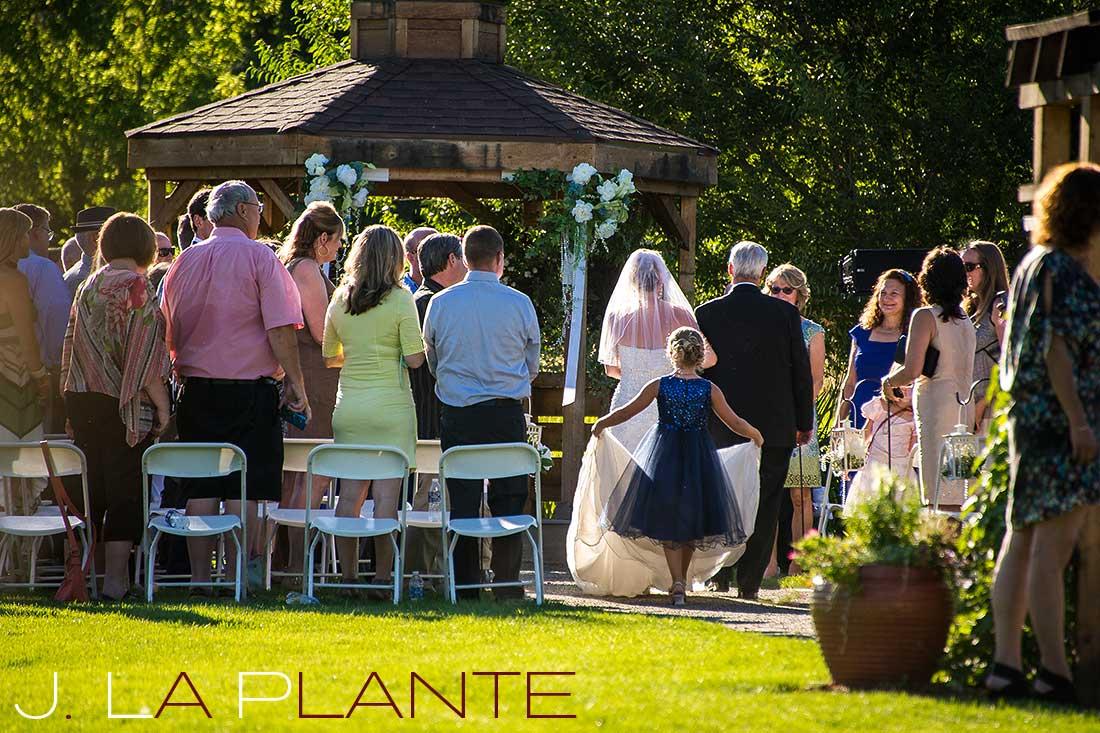 J. La Plante Photo   Denver Wedding Photography   Chatfield Botanic Gardens wedding   Bride walking down aisle