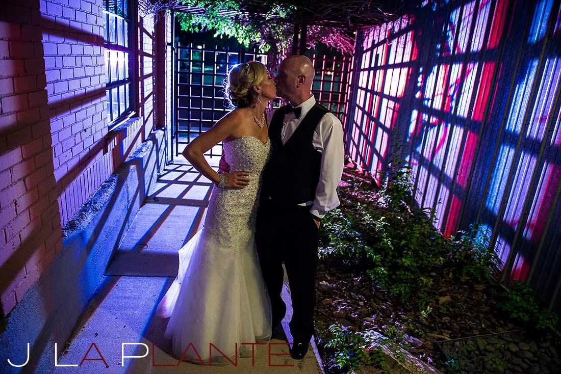 J. La Plante Photo   Denver Wedding Photography   Chatfield Botanic Gardens wedding   Bride and groom at night