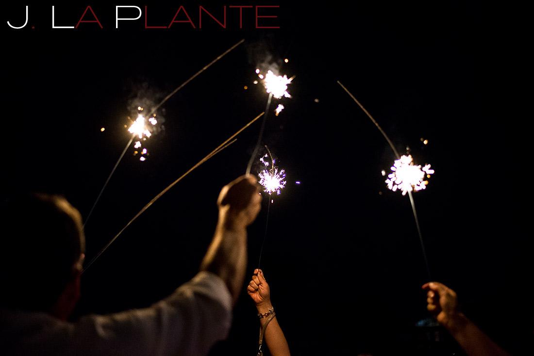 J. La Plante Photo   Denver Wedding Photography   Chatfield Botanic Gardens wedding   Guests with sparklers