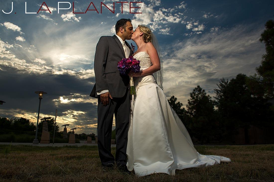 J. La Plante Photo | Denver Wedding Photography | Wildlife Experience wedding | Bride and groom at sunset