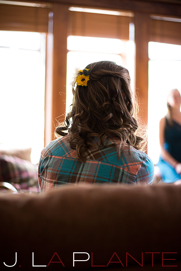 J. La Plante Photo | Colorado Rocky Mountain Wedding Photography | Copper Mountain wedding | Bride with flowers in hair