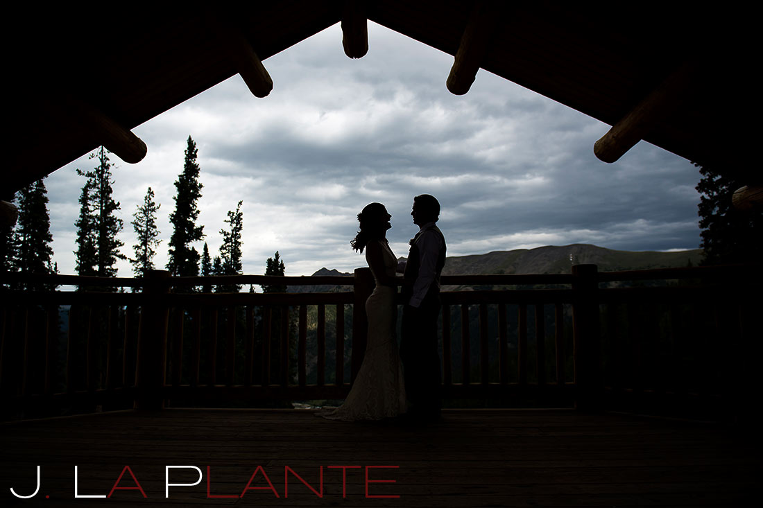 J. La Plante Photo | Colorado Rocky Mountain Wedding Photography | Copper Mountain wedding | First look silhouette