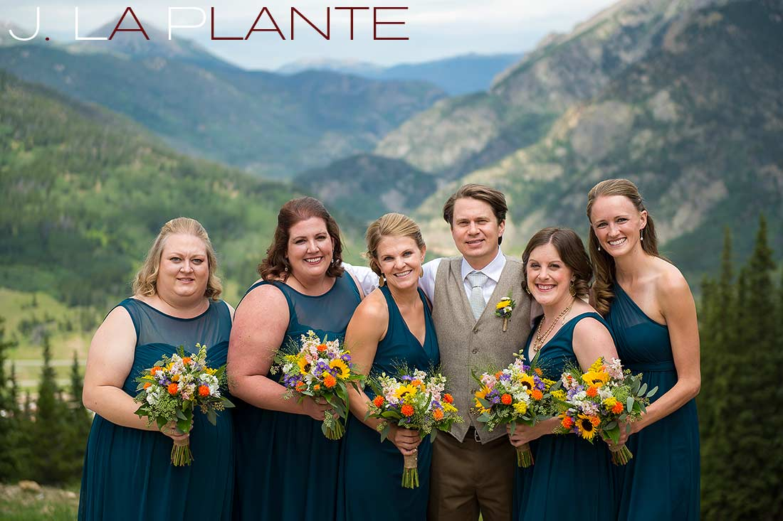 J. La Plante Photo | Colorado Rocky Mountain Wedding Photography | Copper Mountain wedding | Groom with bridesmaids