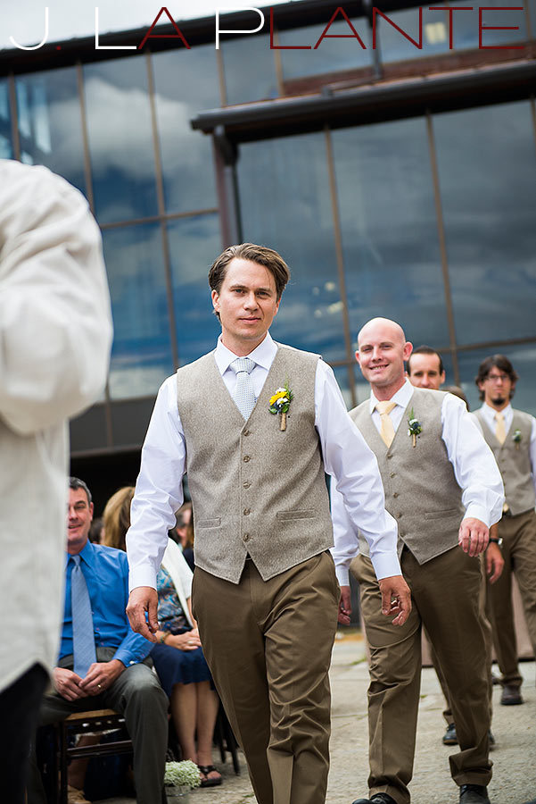 J. La Plante Photo | Colorado Rocky Mountain Wedding Photography | Copper Mountain wedding | Groom walking down aisle