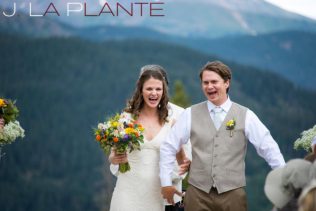 J. La Plante Photo | Colorado Rocky Mountain Wedding Photography | Copper Mountain wedding | Bride and groom after ceremony