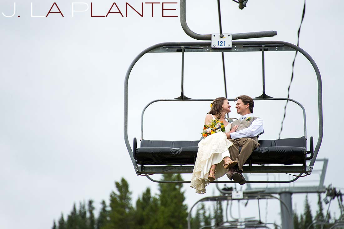 J. La Plante Photo | Colorado Rocky Mountain Wedding Photography | Copper Mountain wedding | Bride and groom on chair lift