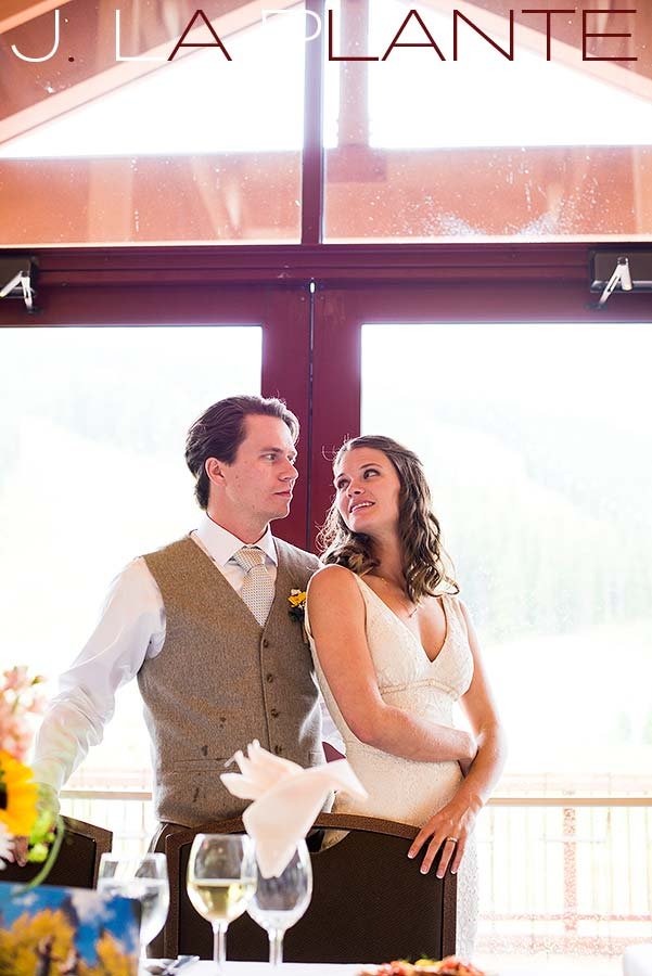 J. La Plante Photo | Colorado Rocky Mountain Wedding Photography | Copper Mountain wedding | Bride and groom during toasts
