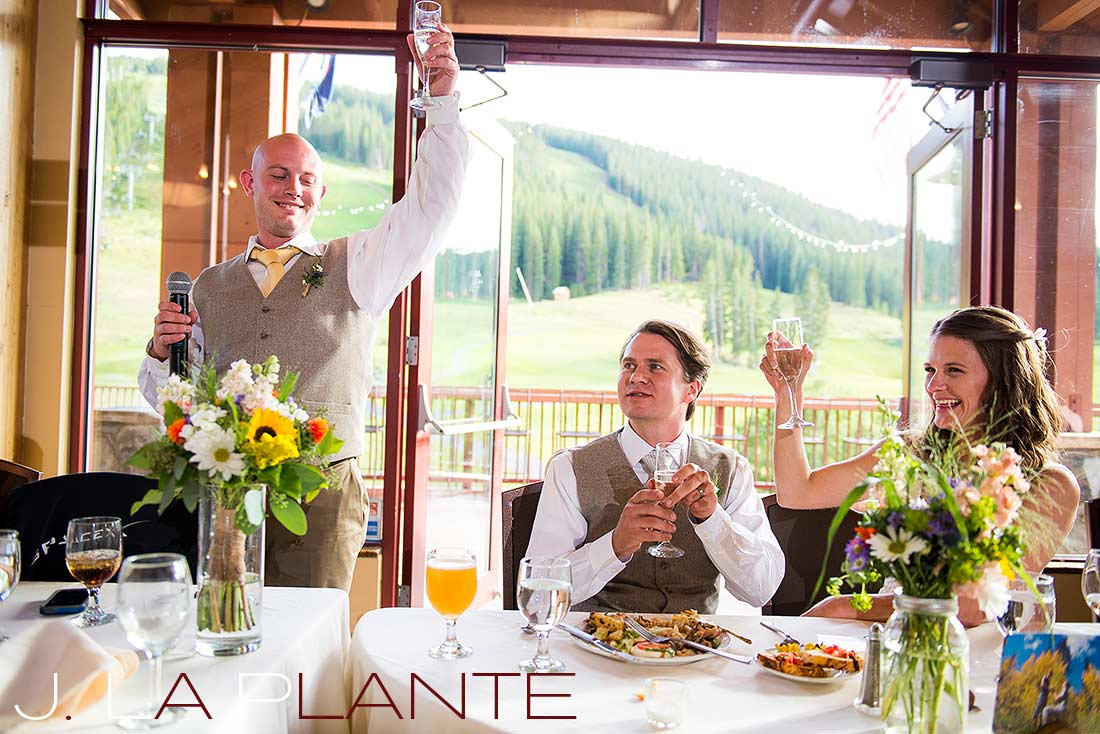 J. La Plante Photo | Colorado Rocky Mountain Wedding Photography | Copper Mountain wedding | Best man toasting