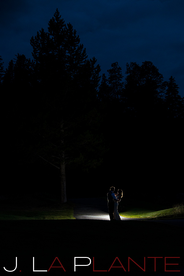 J. La Plante Photo | Colorado Rocky Mountain Wedding Photography | Copper Mountain wedding | Bride and groom at night